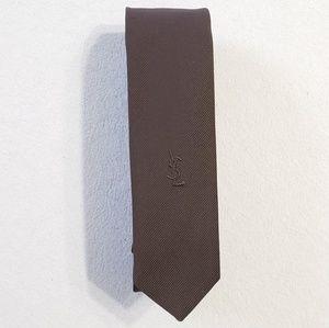 Vintage 1970s Yves Saint Laurent skinny brown tie